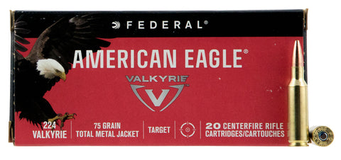 Federal AE224VLK1 American Eagle Rifle 224 Valkyrie 75 GR Total Metal Jacket 20 Bx/ 25 Cs