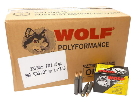 Wolf 22355CFMJ PolyFormance Rifle 223 Remington/5.56 NATO 55 GR Full Metal Jacket 20 Bx/ 25  Cs 500 Total (Case) - 500 Rounds