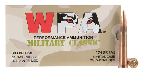Wolf MC303BRITH Military Classic Rifle 303 British 174 GR Full Metal Jacket 20 Bx/ 14 Cs 280 Total (Case) - 280 Rounds