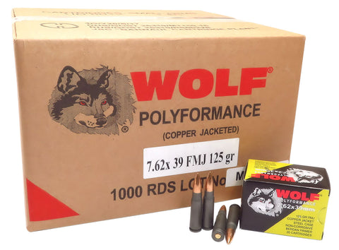 Wolf 762CFMJ PolyFormance Rifle 7.62X39mm 125 GR Full Metal Jacket 20 Bx/ 50 Cs 1000 Total (Case) - 1000 Rounds