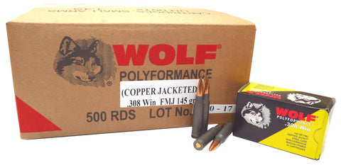 Wolf 308CFMJ PolyFormance Rifle 308 Winchester/7.62 NATO 145 GR Full Metal Jacket 20 Bx/ 25 Cs 500 Total (Case) - 500 Rounds