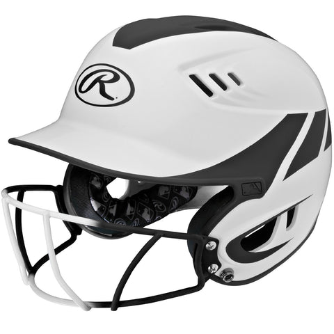 Rawlings Velo Junior 2-Tone Home Softball Helmet w/Mask-Blk