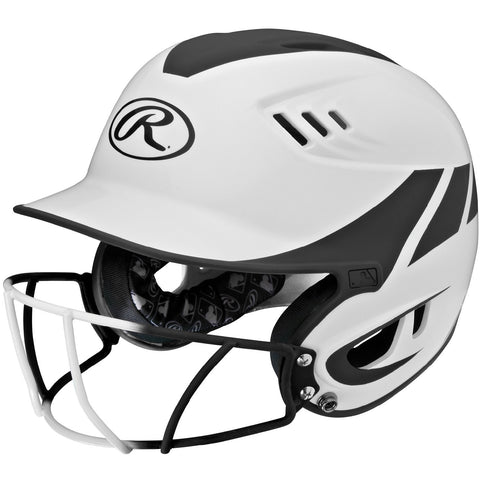 Rawlings Velo Senior 2-Tone Home Softball Helmet w/Mask-Blk