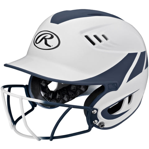 Rawlings Velo Senior 2-Tone Home Softball Helmet w/Mask-Navy