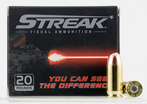 Ammo Inc 45230TMCSTRK Streak Red 45 Automatic Colt Pistol (ACP) 230 GR Total Metal Jacket 20 Bx/ 10 Cs