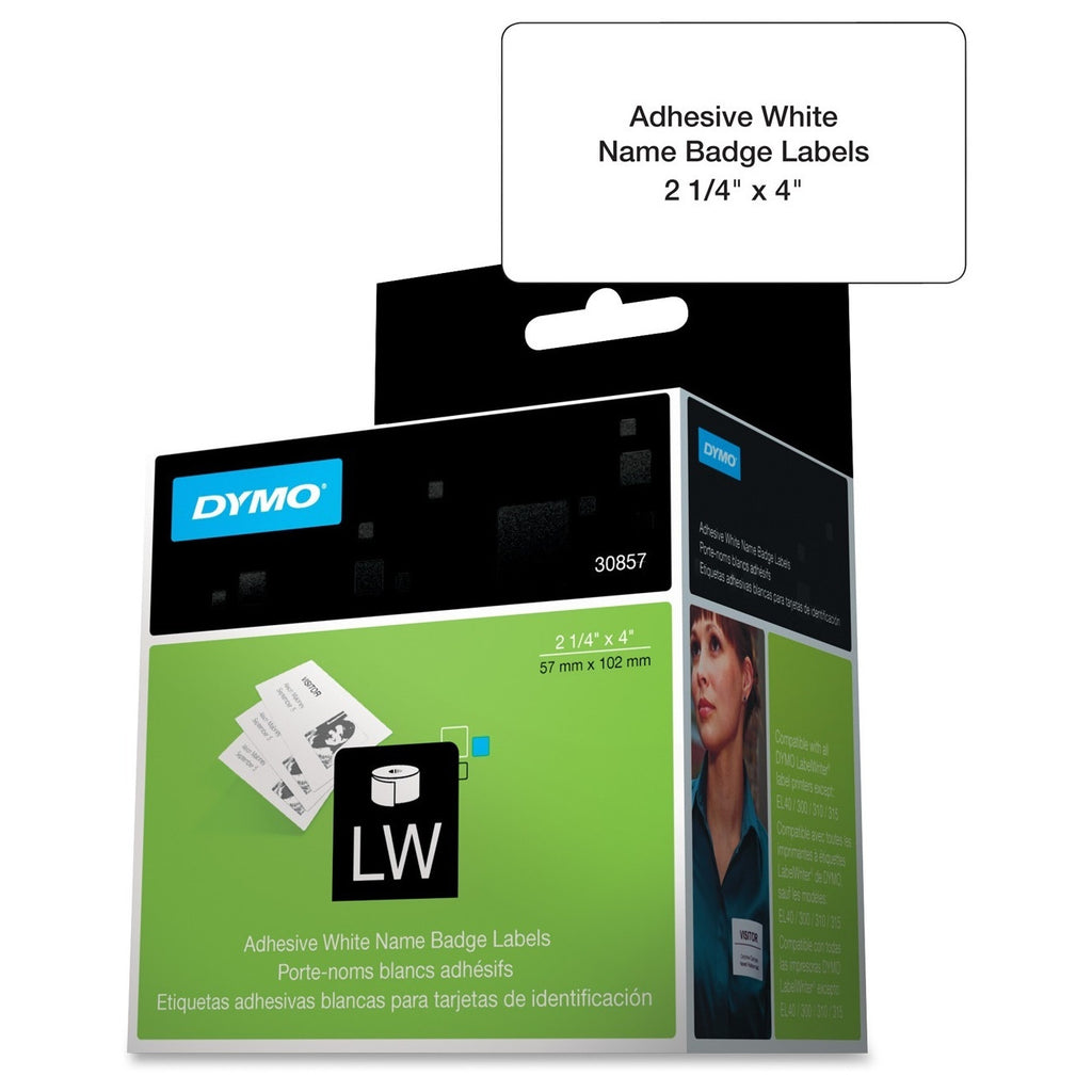 "Dymo Name Badge Label with Clip Hole - 4"" Width x 2.25"" Length - 250 / Roll - Rectangle - Direct Thermal - White"