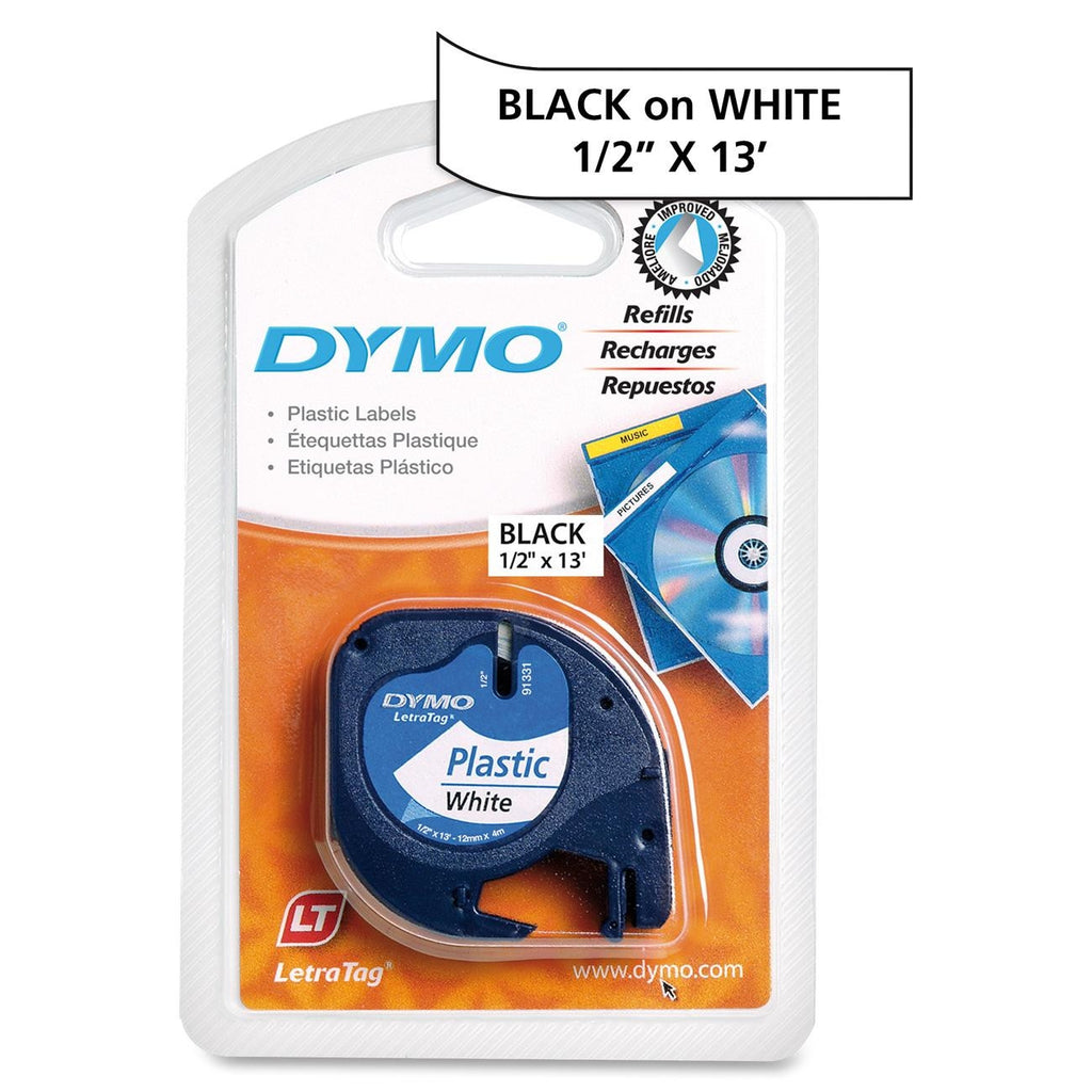 "Dymo LetraTag 91331 Polyester Tape - 0.50"" Width x 13 ft Length - 1 Each - Polyester - Direct Thermal - White"