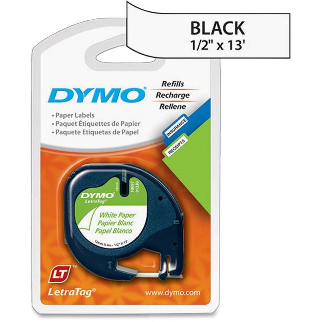 "Dymo LetraTag 10697 Paper Tape - 0.50"" Width x 13 ft Length - 2 / Pack - Paper - Direct Thermal - White"