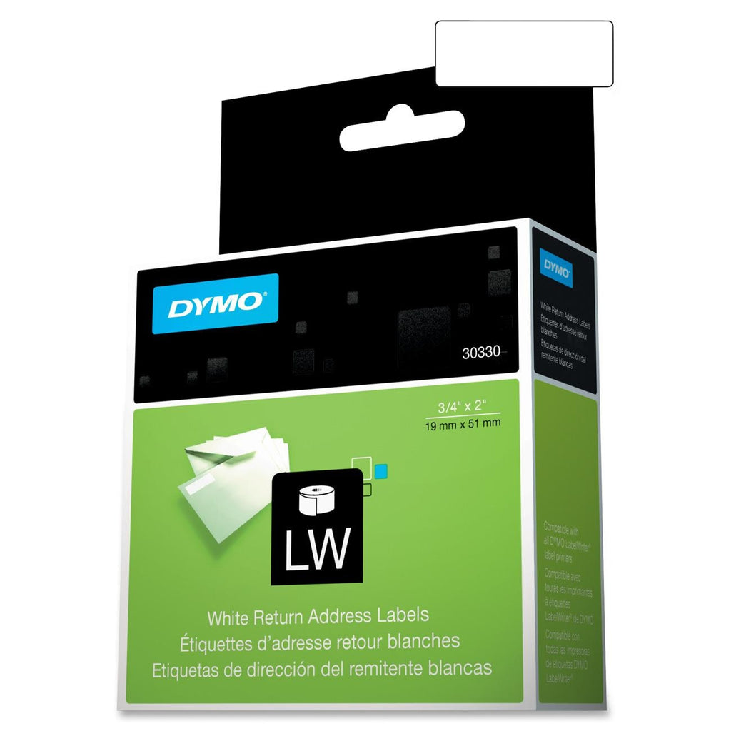 "Dymo Address Labels - 0.75"" Width x 24"" Length - 500 / Roll - Rectangle - 500/Roll - Direct Thermal - White"