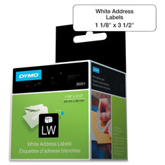 "Dymo 30251 LabelWriter Address Label - 3.50"" Width x 1.12"" Length - 130 / Box - Rectangle - 130/Roll - Paper - Direct Thermal - White"