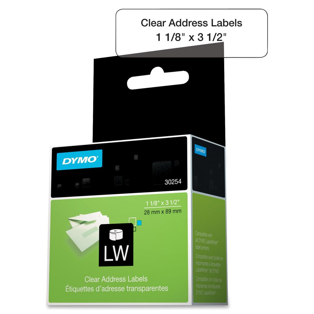 "Dymo Address Label - 1.12"" Width x 3.50"" Length - Rectangle - 130/Roll - Direct Thermal - Clear"