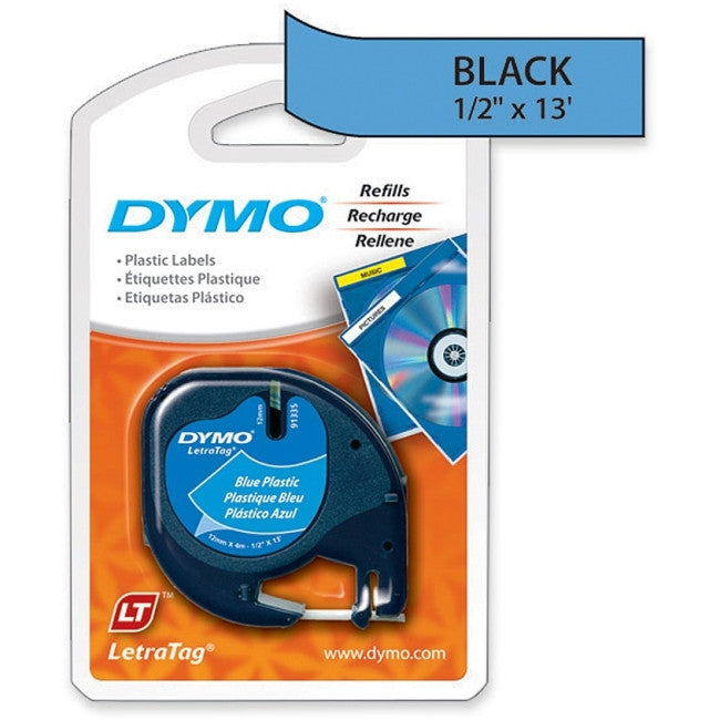 "Dymo 91335 LetraTag Tape Cassette - 0.50"" Width x 13 ft Length - 1 / Each - Rectangle - Polyester - Direct Thermal - Blue"