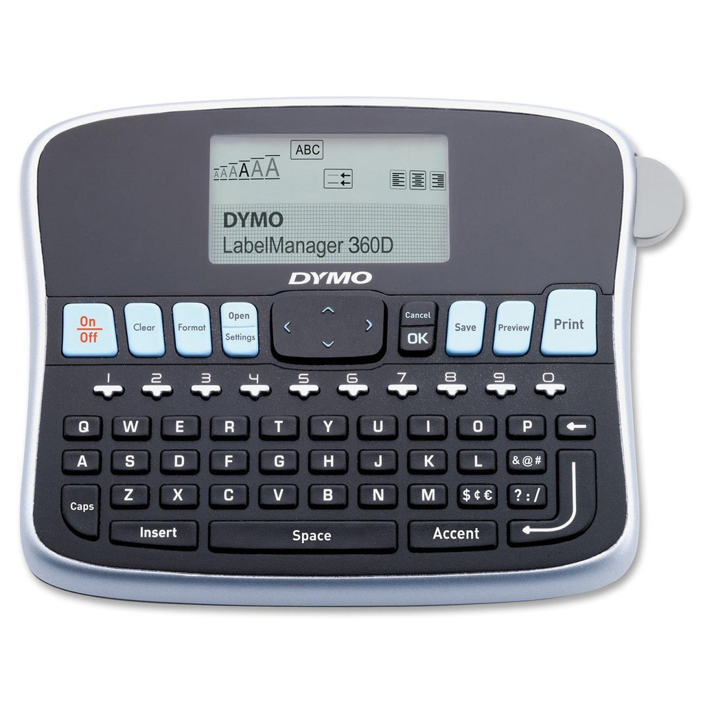 "Dymo LabelManager LM360D Label Maker - Label - 0.24"", 0.35"", 0.47"", 0.75"" Auto Power Off, QWERTY, Underline, Lightweight, Repeat Printing"