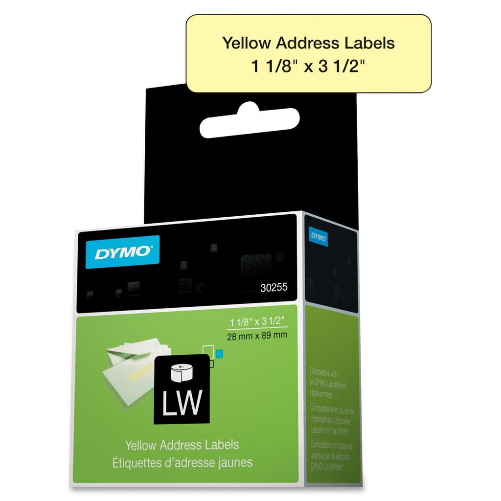 "Dymo 30255 Address Label - 1.12"" Width x 3.50"" Length - 130 / Box - 130/Roll - Paper - Direct Thermal - Yellow"