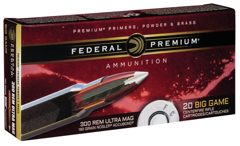 Federal P300RUMA1 Vital-Shok 300 Remington Ultra Magnum (RUM) 180 GR Nosler AccuBond 20 Bx/ 10 Cs