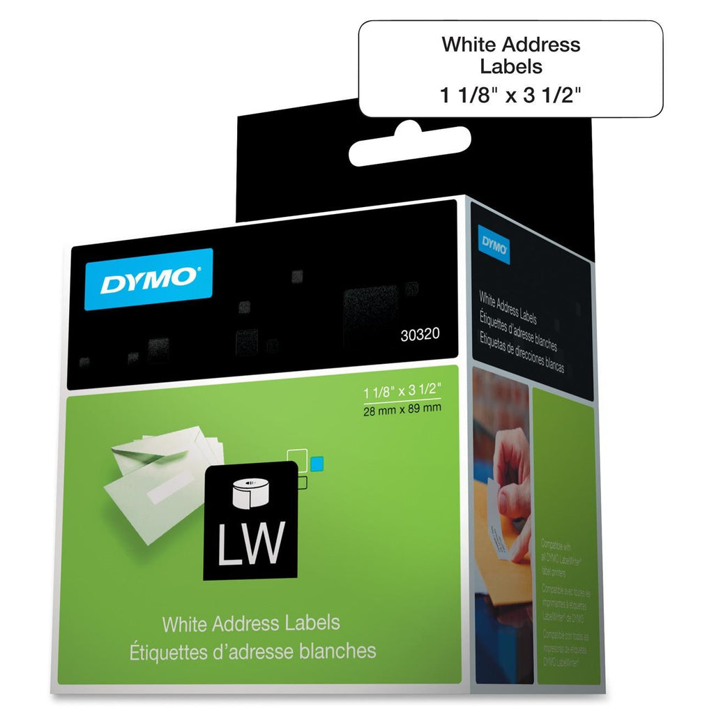 "Dymo Address Labels - 1.13"" Width x 3.50"" Length - Rectangle - 260/Roll - 1"" Core - Paper - Direct Thermal - White"