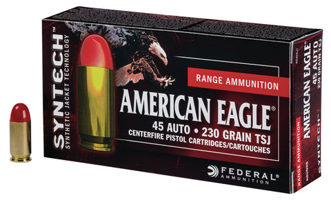 Federal AE45SJ1200 American Eagle 45 Automatic Colt Pistol (ACP) 230 GR Total Syntech Jacket 200 Bx/ 5 Cs - 200 Rounds