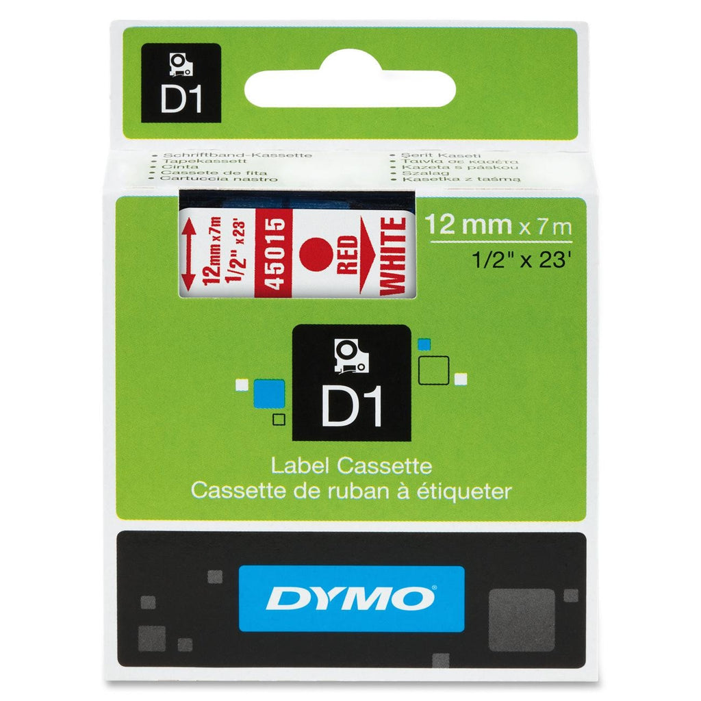 "Dymo Red on White D1 Label Tape - 0.50"" Width x 23 ft Length - 1 Each - Polyester - Thermal Transfer - White"