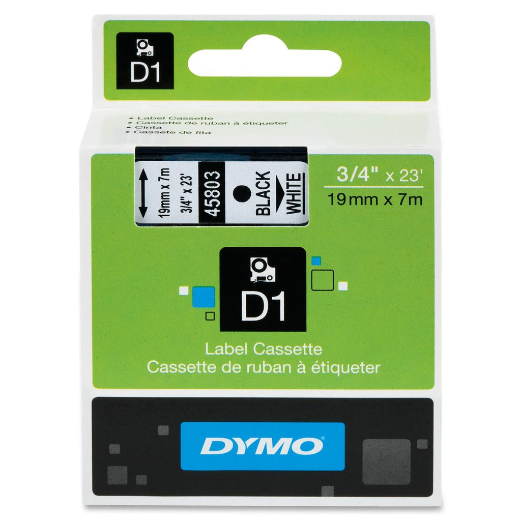 "Dymo Black on White D1 Label Tape - 0.75"" Width x 23 ft Length - 1 Each - Polyester - Thermal Transfer - White"