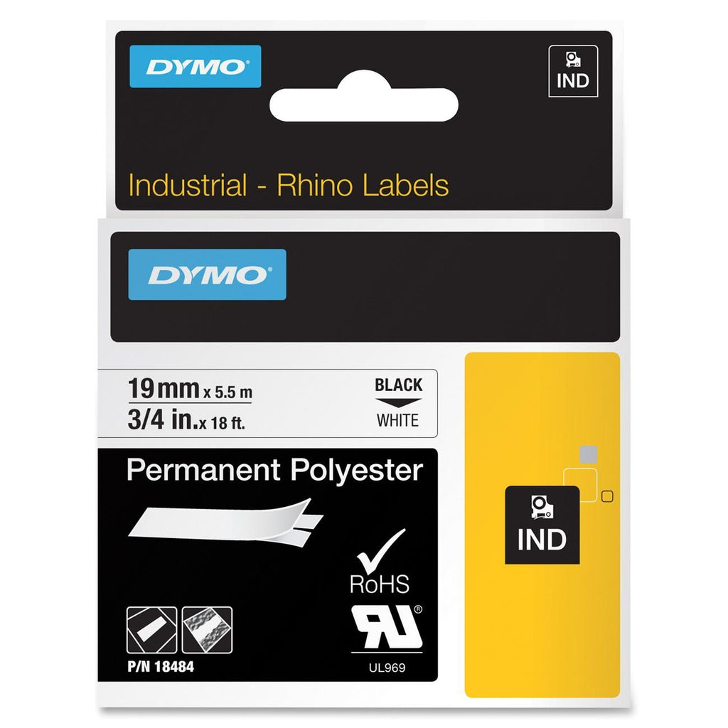 "Dymo RhinoPRO Permanent Polyester Tape - 0.75"" Width x 18 ft Length - 1 Each - Polyester - Thermal Transfer - White"
