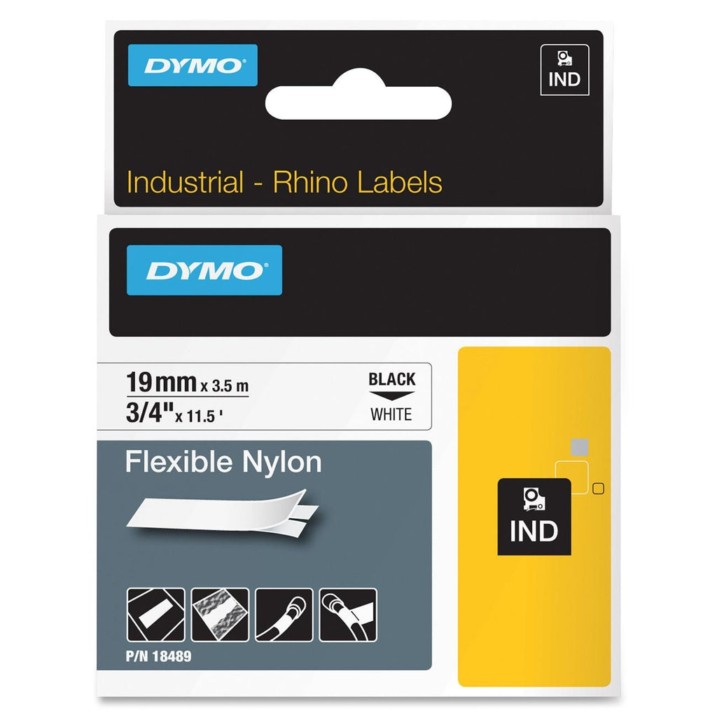 "Dymo RhinoPRO Flexible Wire & Cable Label Tape - 0.75"" Width x 11.50 ft Length - 1 Each - Nylon - Thermal Transfer - White"