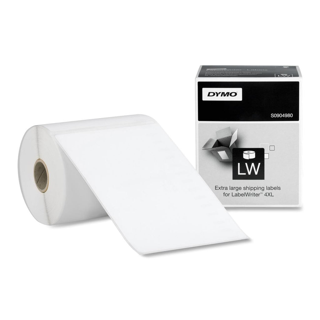 "Dymo Black on White Shipping Label - 4"" Width x 6"" Length - 1 / Roll - Rectangle - 220/Roll - Thermal Transfer - White"