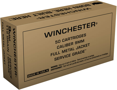 Winchester Ammo SG9W Service Grade 9mm Luger 115 GR Full Metal Jacket 50 Bx/ 10 Cs