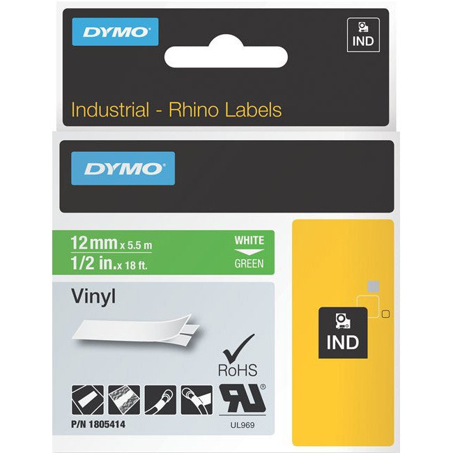 "Dymo White 0n Green Color Coded Label - 0.50"" Width x 18.04 ft Length - Vinyl - Thermal Transfer - Green"