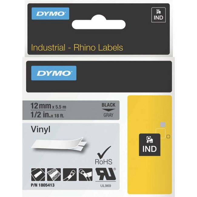 "Dymo Black on Gray Color Coded Label - 0.50"" Width x 18.04 ft Length - Vinyl - Thermal Transfer - Gray"