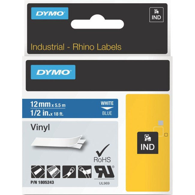 "Dymo White on Blue Color Coded Label - 0.47"" Width x 18 ft Length - Vinyl - Thermal Transfer - Blue"