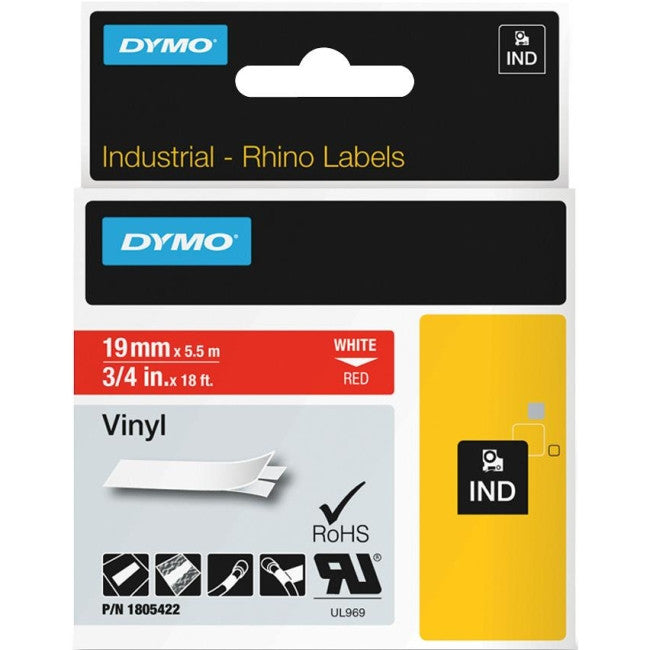 "Dymo White on Red Color Coded Label - 0.75"" Width x 18 ft Length - 1 Each - Vinyl - Thermal Transfer - Red"