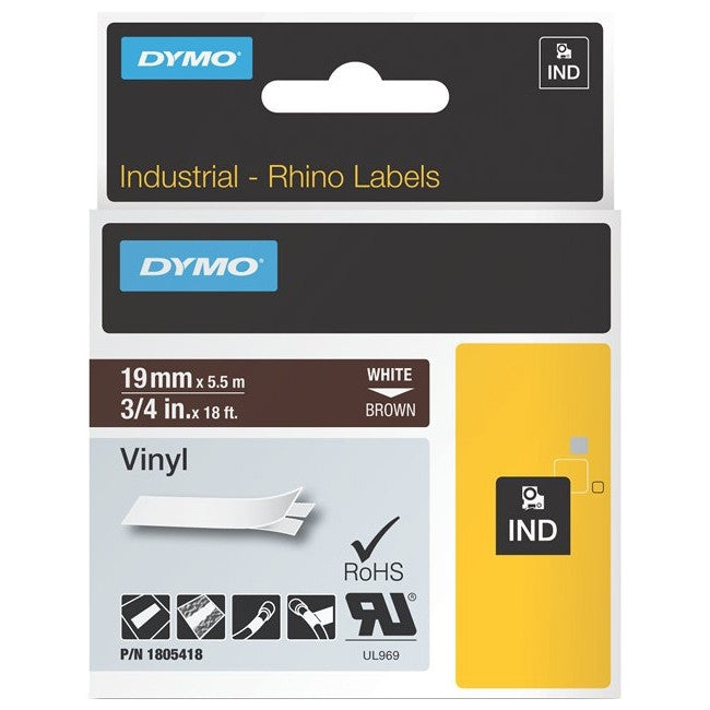 "Dymo White on Brown Color Coded Label - 0.75"" Width x 18 ft Length - Vinyl - Thermal Transfer - Brown"