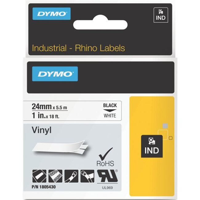"Dymo Black on White Color Coded Label - 1"" Width x 18.04 ft Length - Vinyl - Thermal Transfer - White"