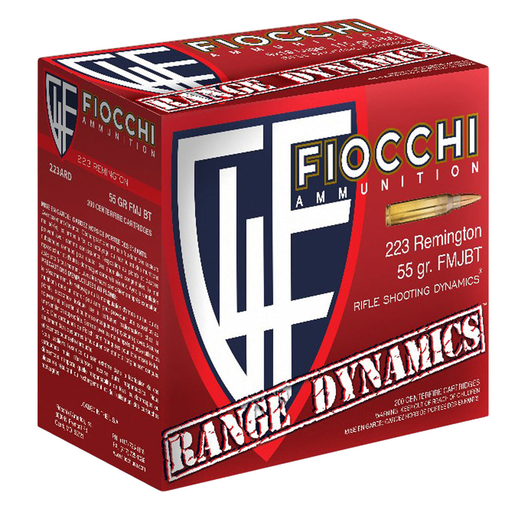 Fiocchi 223ARD10 Range Dynamics 223 Remington/5.56 NATO 55 GR Full Metal Jacket Boat Tail 100 Bx/ 10 Cs - 100 Rounds