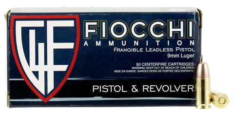 Fiocchi 9FRANG Shooting Dynamics 9mm Luger 100 GR Non-Tox Frangible 50 Bx/ 20 Cs