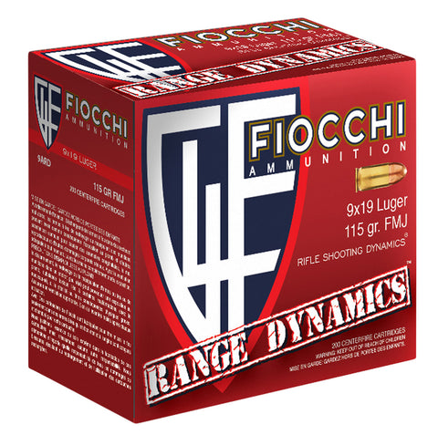 Fiocchi 9ARD100 Range Dynamics 9mm Luger 115 GR Full Metal Jacket 100 Bx/ 10 Cs - 1000 Rounds