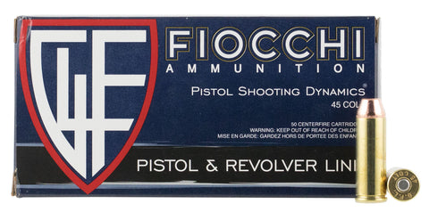 Fiocchi 45LCCMJ Shooting Dynamics 45 Colt (LC) 225 GR Copper Metal Jacket Flat Point 50 Bx/ 10 Cs