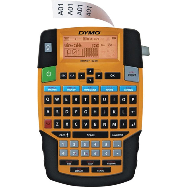 "Dymo RhinoPRO 4200 Label Maker - Label, Tape - 0.25"", 0.37"", 0.50"", 0.75"" QWERTY, Barcode Printing"