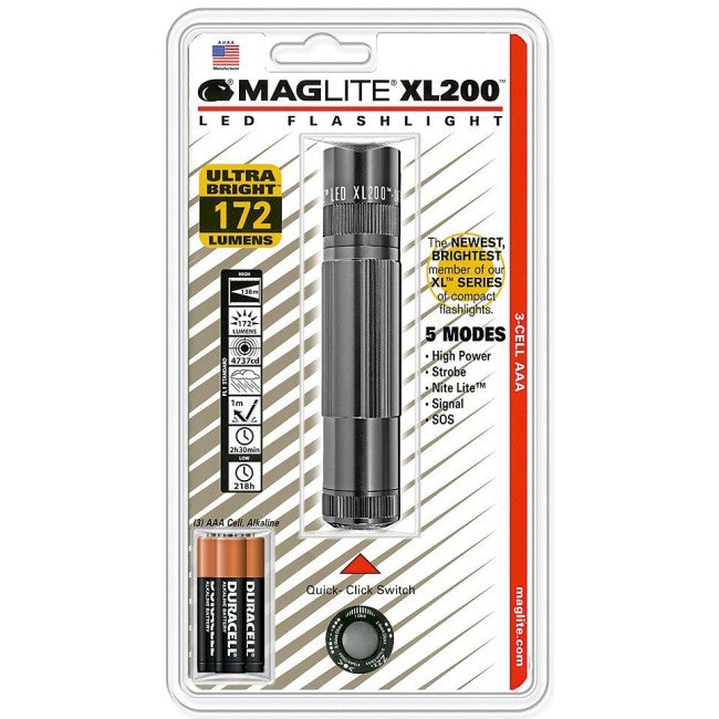 Mag-Lite XL200 LED Flashlight - AAA - Anodized AluminumCasing - Gray