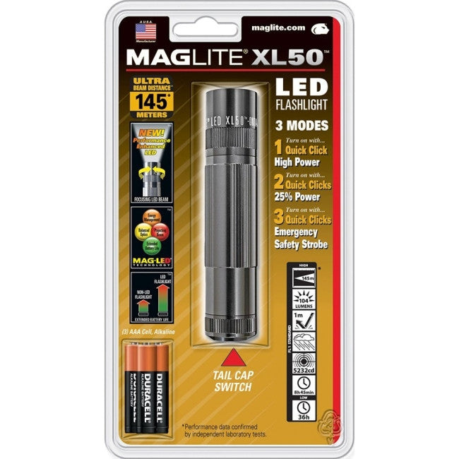 Mag-Lite XL50 LED Flashlight - AAA - Anodized AluminumCasing - Gray
