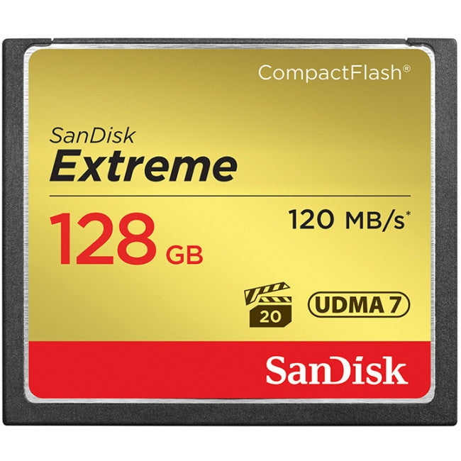 SanDisk Extreme 128 GB CompactFlash (CF) Card - 120 MBps Read - 120 MBps Write - 1 Card - 400x Memory Speed