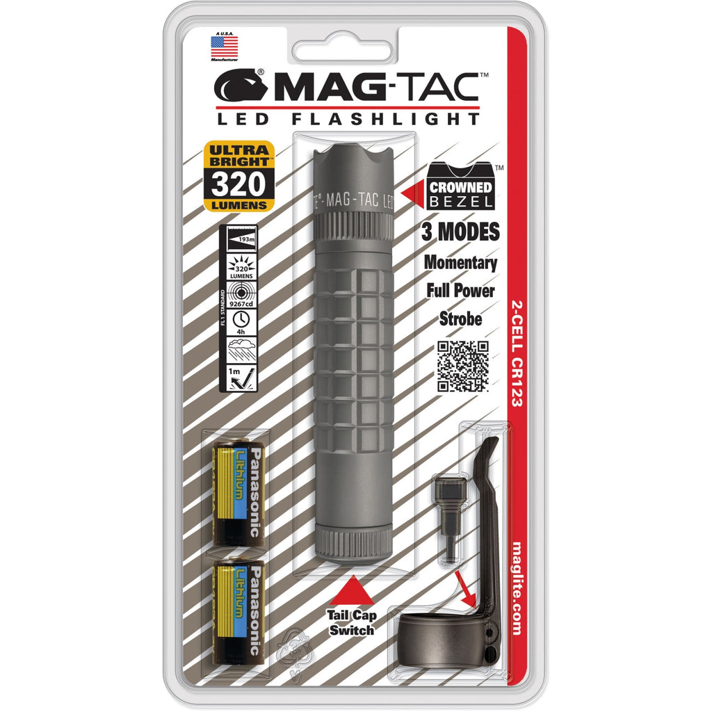 Mag-Lite MAG-TAC LED Flashlight - CR123A - Aluminum - Urban Gray