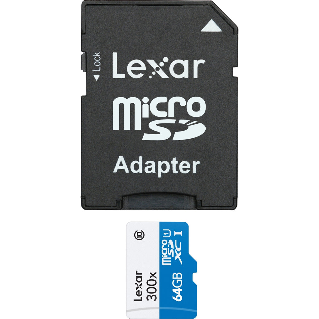 Lexar High Performance 64 GB microSD Extended Capacity (microSDXC) - Class 10/UHS-I - 45 MBps Read - 1 Card - 300x Memory Speed