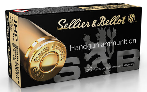 Sellier & Bellot SB9D Defense Pistol & Revolver Cartridges 9mm Luger 124 GR Jacketed Hollow Point 50 Bx/ 20 Cs