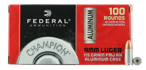 Federal CAL9115100 Champion Value Pack  9mm Luger 115 GR Full Metal Jacket 100 Bx/ 10 Cs - 100 Rounds