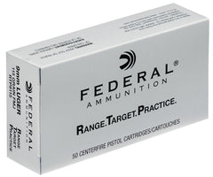 Federal RTP9115 Range and Target  9mm Luger 115 GR Full Metal Jacket 50 Bx/ 20 Cs