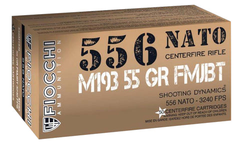 Fiocchi 556M193L Shooting Dynamics  5.56 NATO 55 GR Full Metal Jacket Boat Tail 50 Bx/ 20 Cs