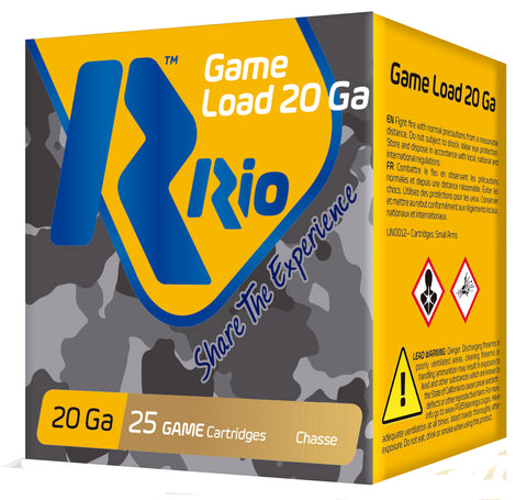 "RIO AMMUNITION RC208 Game Load 20 Gauge 2.75"" 1 oz 8 Shot 25 Bx/ 10 Cs"