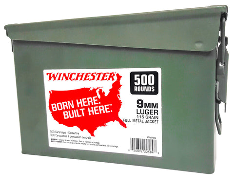 Winchester Ammo WW9C Winchester Handgun Ammo Can 9mm Luger 115 GR Full Metal Jacket 500 Bx/ 2 Cs 1000 Total - 500 Rounds