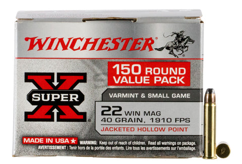 Winchester Ammo X22MH150 Super-X Value Pack  22 Winchester Magnum Rimfire (WMR) 40 GR Jacketed Hollow Point 150 Bx/ 3 Cs - 150 Rounds